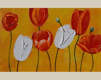 ORIGINAL Oil Painting Looking Forward 23 x 36 Palette Knife Colorful Flowers Textured Tulips Orange Red White Yellow Modern ART by Marchella