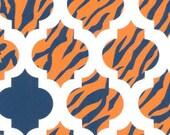 Fabric Finders Navy and Orange Tiger Stripe Quatrefoil