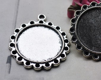 Cabochon base setting,10pc antique silver round frame tray Cameo base charm pendants 22mm