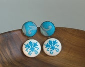 Fabric dangle earrings - embroidered earrings - turquoise floral design - e006