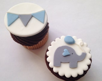 Elephant and Bunting Fondant Cupcake Toppers - one dozen