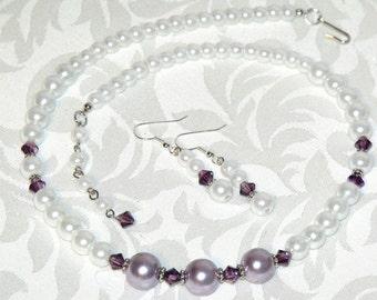 Pearl Jewelry Vintage Inspired Purple White Pearls Necklace Earrings Beaded Wedding Indie Jewelry