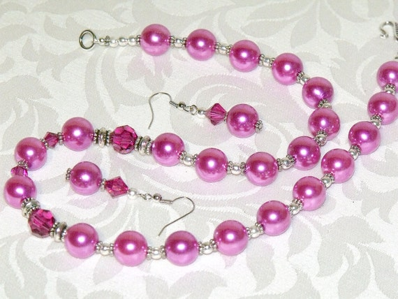 Hot Pink Necklace and Earrings - glass pearl crystal bead jewelry - vintage inspired pink jewelry