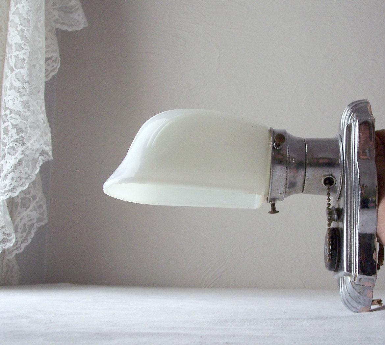 vintage art deco white milk glass wall sconce light fixture