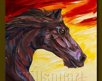 Horse Portrait Modern Oil Painting Textured Palette Knife Original Animal Art 20X20 by Willson Lau