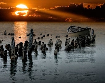 Single Anchored Moored Row Boat among the Pilings at Sunset - A Fine Art Nautical Seascape Photograph