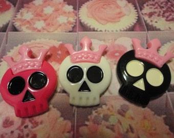 Kawai skull with pink crown decoden deco diy cabochons    3 pcs---USA seller