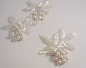 Pearl and Chalk White Chunky Leaf Design Beaded Applique--One Piece
