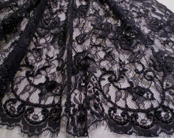 Black Floral Design Beaded French Chantilly Lace Fabric--One Yard