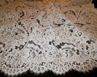 Ivory Large Floral Repeat Beaded French Alencon Lace Fabric--One Yard