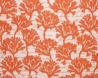 SPECIAL--Coral on White Coral Print Pure Cotton Fabric--One Yard