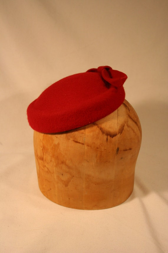 The Bellini, a reclaimed red wool pillbox hat