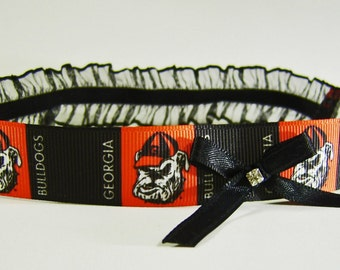 University of Georgia Bulldogs Red and Black Wedding Lingerie Game Day Leg Garter