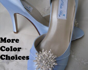 Wedding Shoes Blue Wedding Shoes with Rhinestone Flower Burst Additional 100 Colors To Pick From