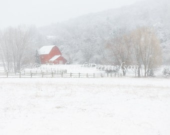 Red Barn in Winter Snow Kent Connecticut Photograph Print 8x10