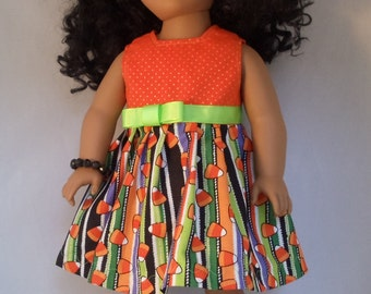 Candy Corn Stripe Halloween Dress Handmade to Fit American Girl Dolls and Other 18 Inch Dolls
