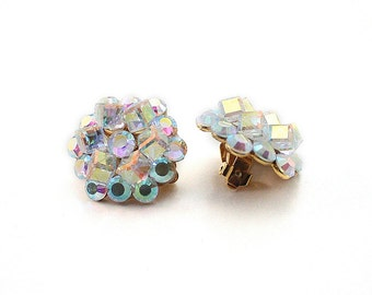 Stunning Vintage Aurora Borealis Clip Earrings