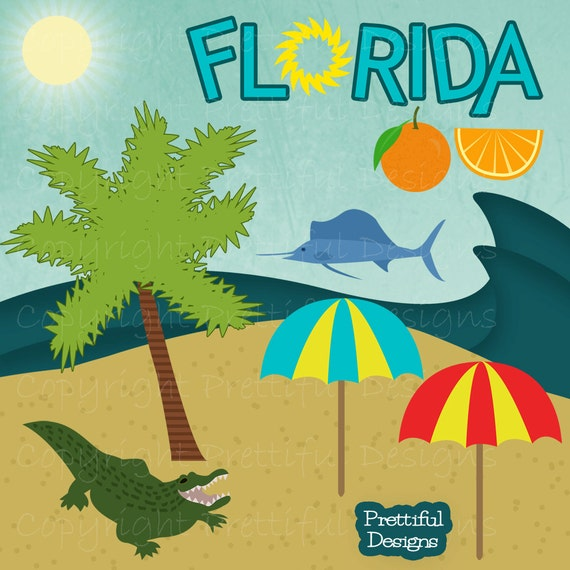 Florida Clip Art Alligator Palm Tree Orange Sword Fish Beach Umbrella Ocean Scene (747)