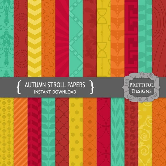 50% off SALE Fall Digital Paper Pack Teal Orange Crimson Gold - Personal and Commercial Use - Autumn Stroll (761)