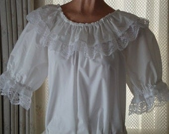 White blouse with two laces for trim, peasant style