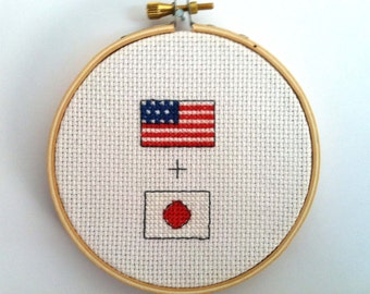 American + Japanese Flag Cross Stitch (finished and framed in embroidery hoop)