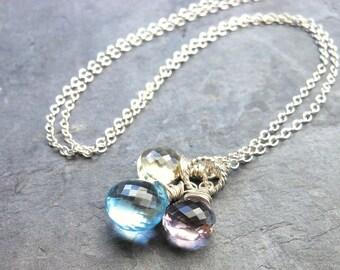 Blue Topaz Necklace Trio Briolettes Semi Precious Gemstone Pendant Necklace Sterling Silver Neapolitan