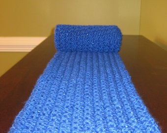 Royal Blue Loom Knitted Scarf