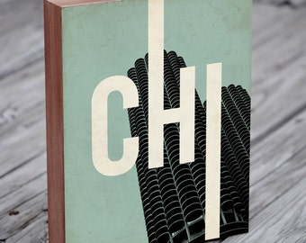 Chicago CHI - Wood Block Art Print