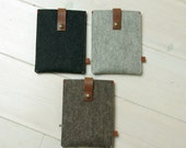 KINDLE KOBO COVER felt - grey, brown, black - leather closure - Paperwhite, Voyage, Kobo Aura Ereader cover