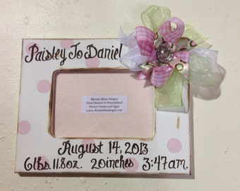 Baby Girl White and Pink  Shabby 4x6 Frame