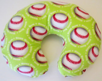 Baseballs or Softballs on Lime Green fleece Boppy or nursing pillow cover
