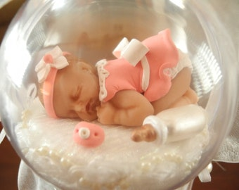 Baby's First Christmas Ornament- OOAK-Girl in Peach