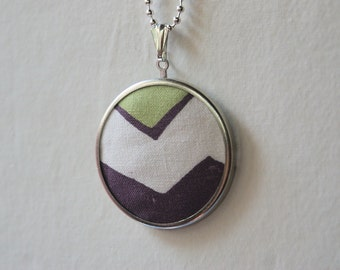 Valley Sage No.1 // Geometric Chevron Pendant, Silver Framed Textile Necklace, Pattern, Boho, Purple, Eggplant, Plum Arrows, Mountain, Green