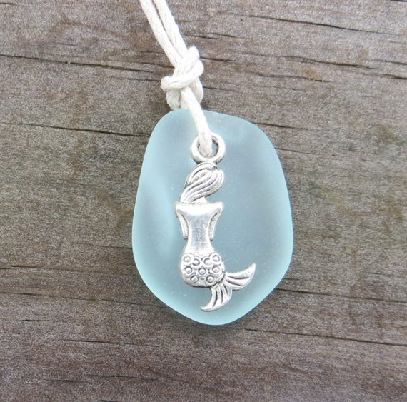 Mermaid Necklace Sea Glass Pale Aqua Necklace by Wave of Life™