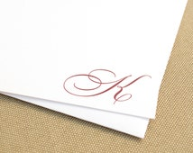 Personalized Handmade Stationery Set with Monogram / Custom Stationary with Elegant Script Initial