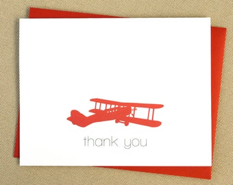 Airplane Thank You Cards / Note Cards for Kids or Plane Enthusiasts - Choose Your Colors
