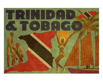 TRINIDAD and TOBAGO 2FS- Handmade Leather Journal / Sketchbook - Travel Art