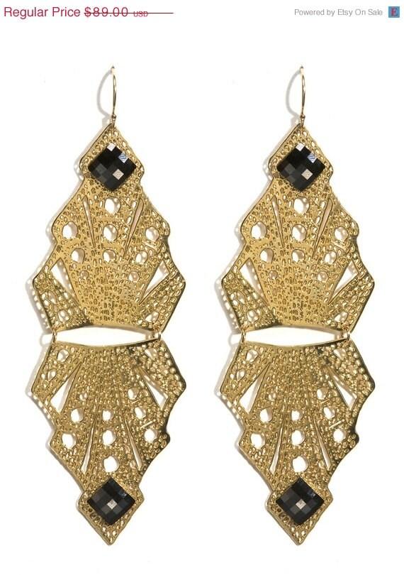 On Sale 30% Metal Lace 24 karat Gold plated Art Deco earrings