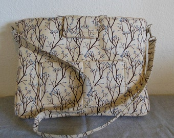 Laptop Bag - Cream with Trees and Blossoms