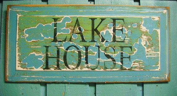 Lake Home Wall Decor : Lake house sign map wall art door panel beach by castawayshall