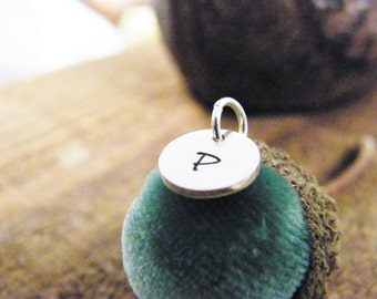 mini initial charm / tiny initial disc / personalized letter charm / round initial tag / sterling silver charm