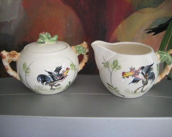 Vintage Cream & Sugar Set, 1950s White Bowls with Rooster Pattern, Strawberry Lid, 3 pcs. Free U.S. Priority Shipping