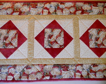 Christmas Quilted Table Runner, Quilted Table Topper, Santa, Gold Ivory Rose Burgundy, Cottage Chic