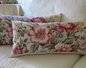 """12x24"""" Lumbar Pillow Cover in Vintage Fabric and Italian Cotton Damask"""