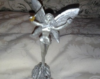 Pewter Fairy Godmother w/Sparkling Magic Wand Standing in a Crystal Garden