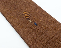 Vintage 60s Skinny Tie Necktie Golden Brown Ombre with Embroidered Flourish Design