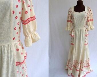 Vintage 70s Maxi Dress Prairie Hippie Boho Folk from Finland Size S / Small