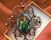 Poison Ivy Pendant Necklace - Comic Book Art - Geek Chic Jewelry