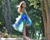Peacock Inspired Bustle Tutu...Halloween Peacock Costume...Turquoise, Royal, Green, Brown...Infant, Toddler, Girls Sizes