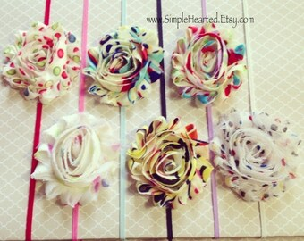Funky Dot Flower Headband: Shabby Chic Frayed Fabric Rose Skinny Elastic Headband, Choose Your Color and Mounting